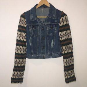 Free People Nordic distressed denim wool jacket xs